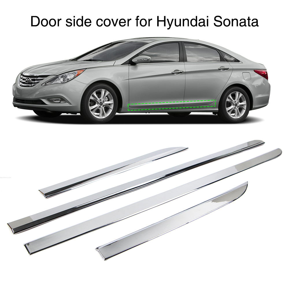 4Pcs Chrome Molding Trim Strip Door Side Cover For Hyundai Sonata YF i45 2011 2012 2013