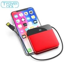 Travelcool 8000 мАч встроенный мини-кабель для зарядного устройства тонкий внешний аккумулятор портативное зарядное устройство для iPhone samsung Xiaomi