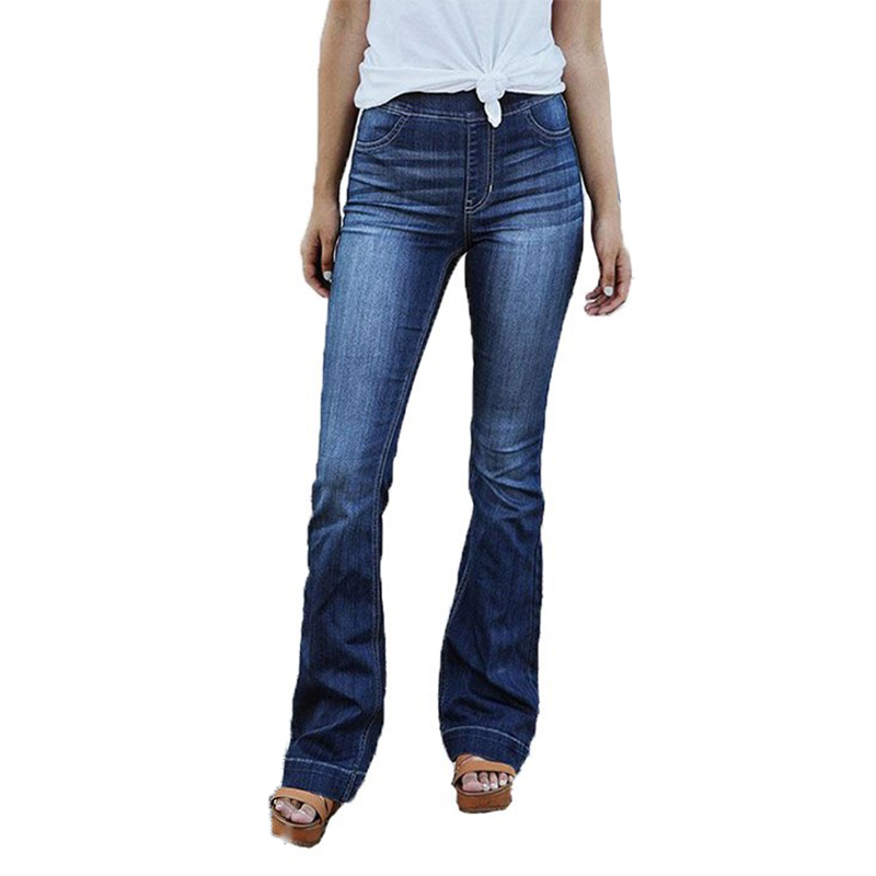 Women Elastic Waist Stretchy Wide Leg   Jeans   Ladies Casual Washed Flare Pants Denim Trousers Plus Size