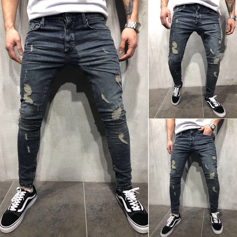 S-4XL Boys Mens Ripped   Jeans   Stretchy Skinny Slim Fit Denim Pants Destroyed Frayed Moustache Effect Trousers Fashion Streetwear