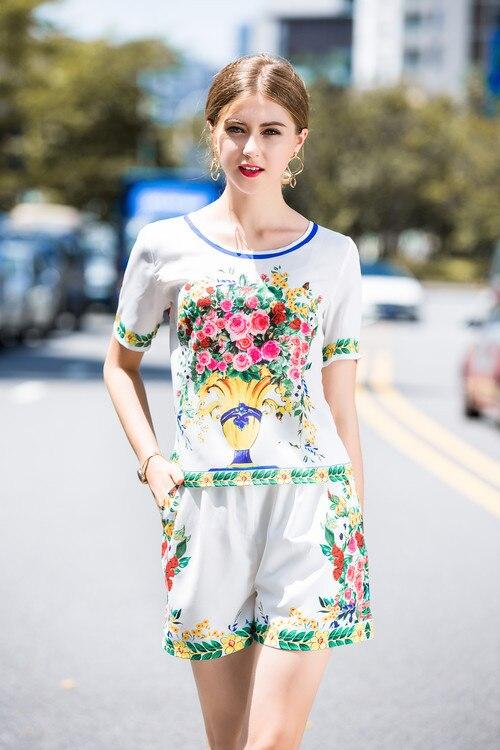 Femmes Pièce Robe Fleur Printemps Mode Manches De Mince Courtes 2 À D'été Ensembles Élégant Costume Personnalisé Imprimé p7axdp