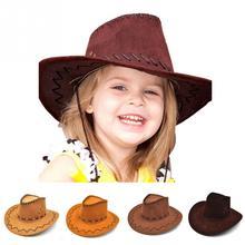 Las chicas occidental vaquero sombrero con ala ancha Punk Correa vaquera  Jazz tapa de sombrero de sol para niños 110d2c2642a