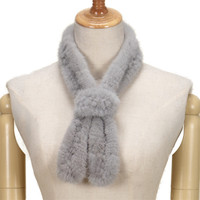 women real mink fur scarf gray knitted female business casual necktie necklace necktie scarf women's fur tie T10