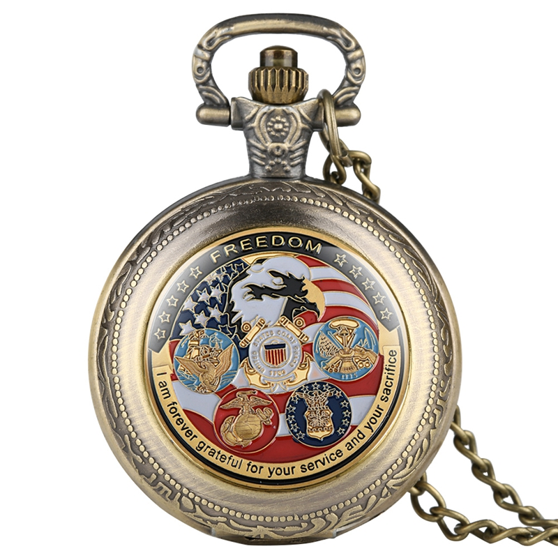 United States Freedom Gold Plated Coin Unique US Eagle Gold Medal Challenge Quartz Pocket Watch Necklace Souvenir Collectibles