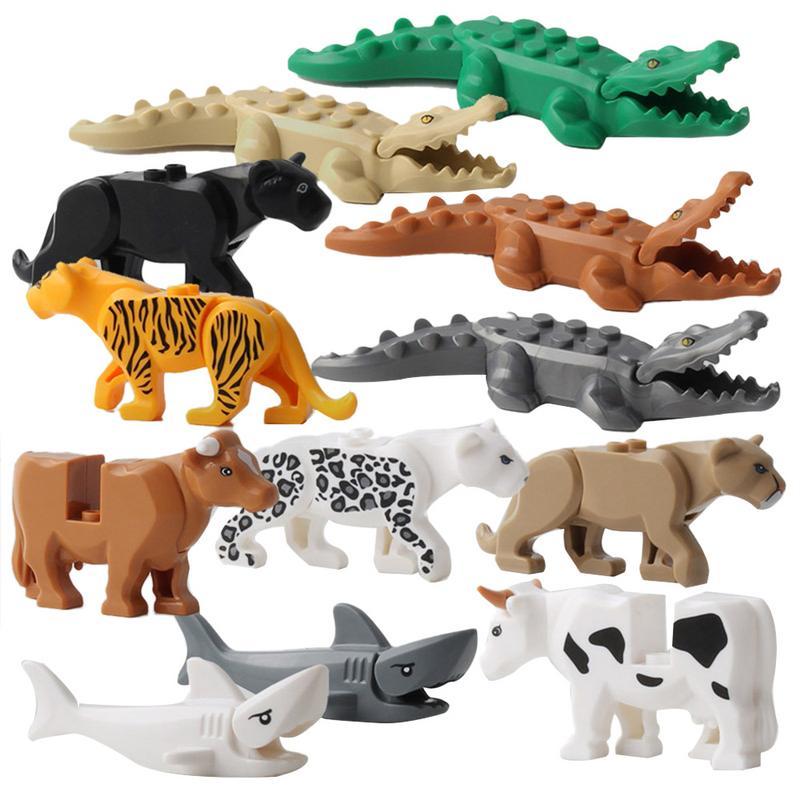 Obliging 12pcs/lot Legoingly Panther Leopard Crocodile Tiger Animal Cow Cattle Horse Shark Building Blocks Set Model Bricks Kits Toys Card Model Building Sets