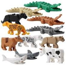 12pcs/lot Legoingly Panther Leopard Crocodile Tiger Animal Cow Cattle Horse Shark Building Blocks Set Model Bricks Kits Toys(China)
