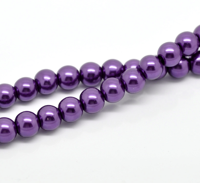 """Round Glass Pearl Beads 8mm Lilac Sold on 16/"""" Strand G30//4"""