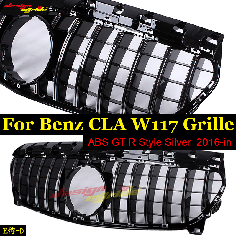 W117 GTS Grille grill ABS Silver Fits For MercedesMB CLA Class CLA200 CLA180 CLA250 Sport Without sign Front Grills 2016-in