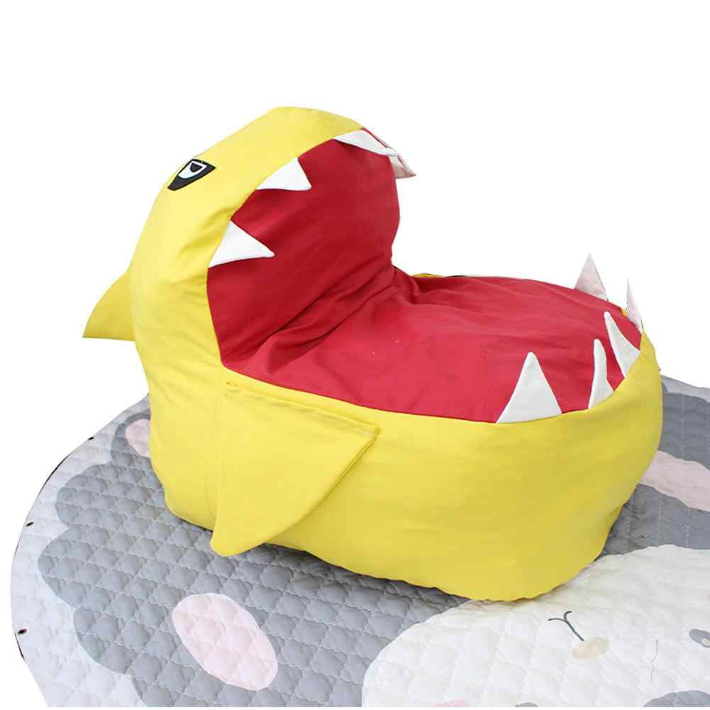 Adeeing 만화 상어 모양의 콩 가방 어린이를위한 장난감 의류 보관