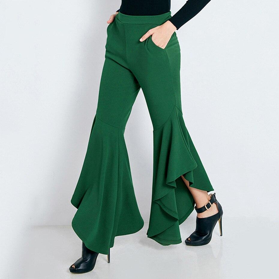 2018 Sexy Tromba Chiarore Dei Pantaloni A Vita Alta Irregolare Donna Pantalone Lungo Sottile Streetwear Del Randello Del Partito Di Estate Pantaloni