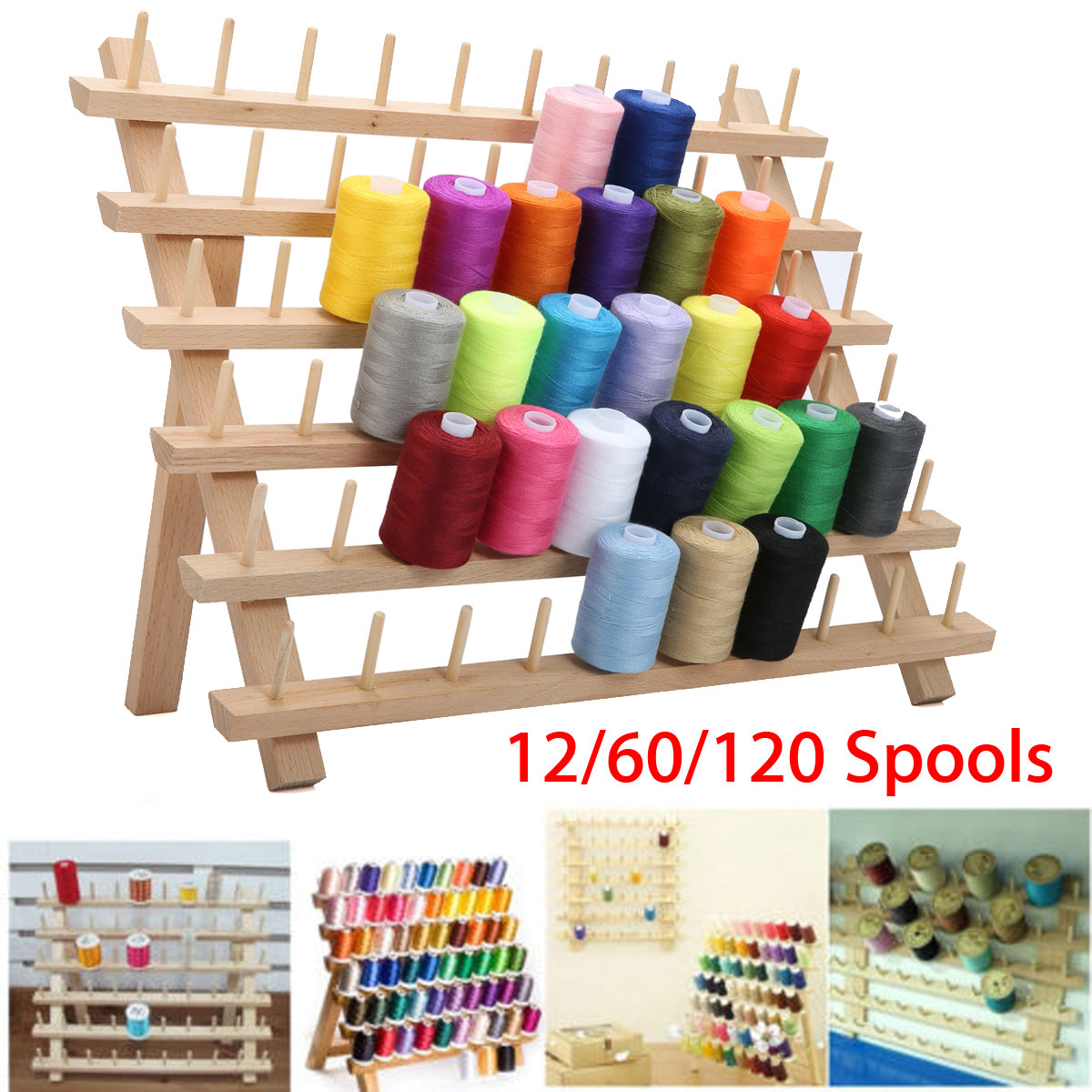 KiWarm 60 Spools Foldable Wood Thread Stand Rack Holds Organizer Wall Mount Cone Embroidery Machine Sewing Storage Holder