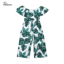646002b8fbb3c 2019 Brand Princess Kids Baby Girl Romper Floral Sunsuit Summer New Green  Leaf Print Ruffle Holiday Outfit Clothes Jumpsuit 3-8Y