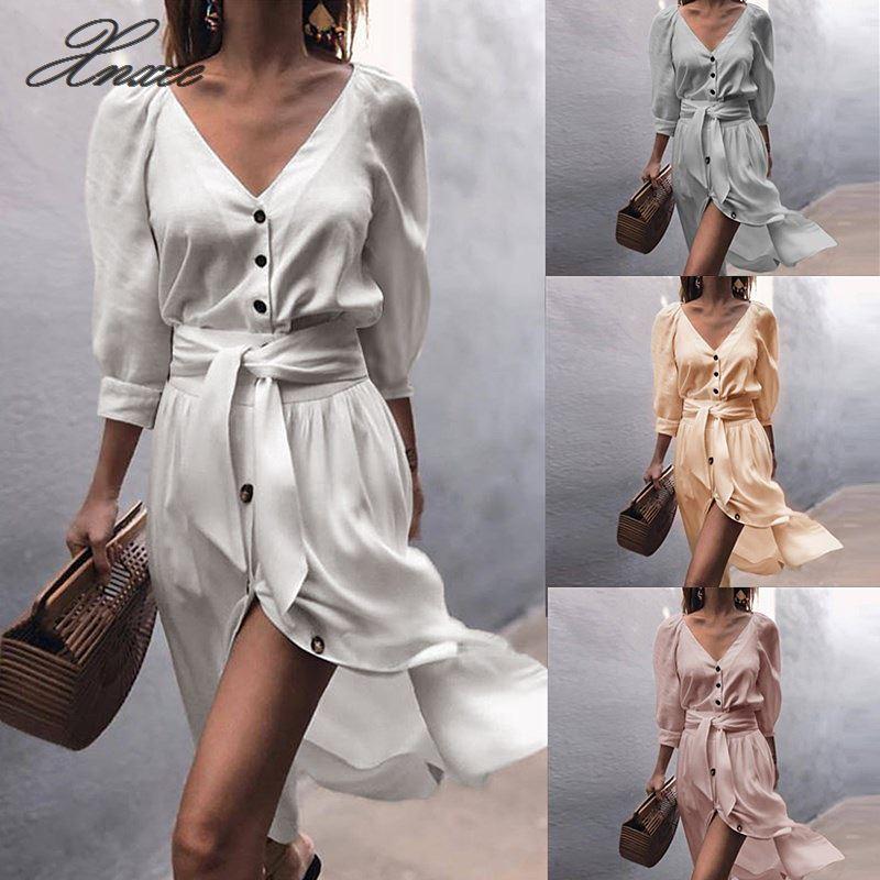 Dicloud Sexy Linen Dresses Women Summer 2020 Fashion V Neck Sexy Midi Vestidos Off White Beach Party Wrap Dresses Female