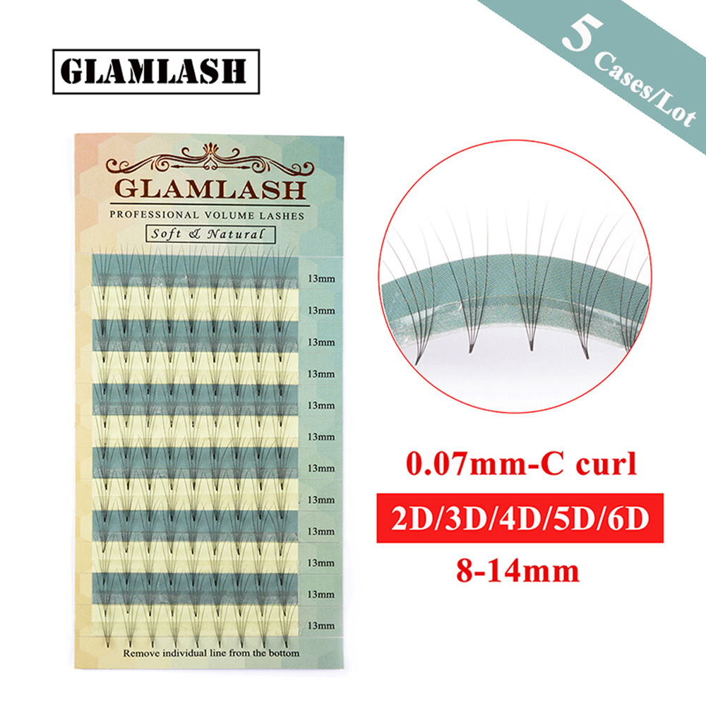GLAMLASH Wholesale 5 Cases Lot 2D 3D 4D 5D 6D Russian Volume fake Eyelashes Extension Pre made Fans Mink Individual False Lashes in False Eyelashes from Beauty Health