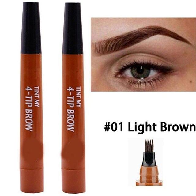 9 Colors 4 Head Henna Eyebrow Marker Pencil Microblading EyeBrow Thin Pen Painless Liquid Eyebrows Shades Makeup Eyebrow Tattoo Pencil Eyebrow Henna 4