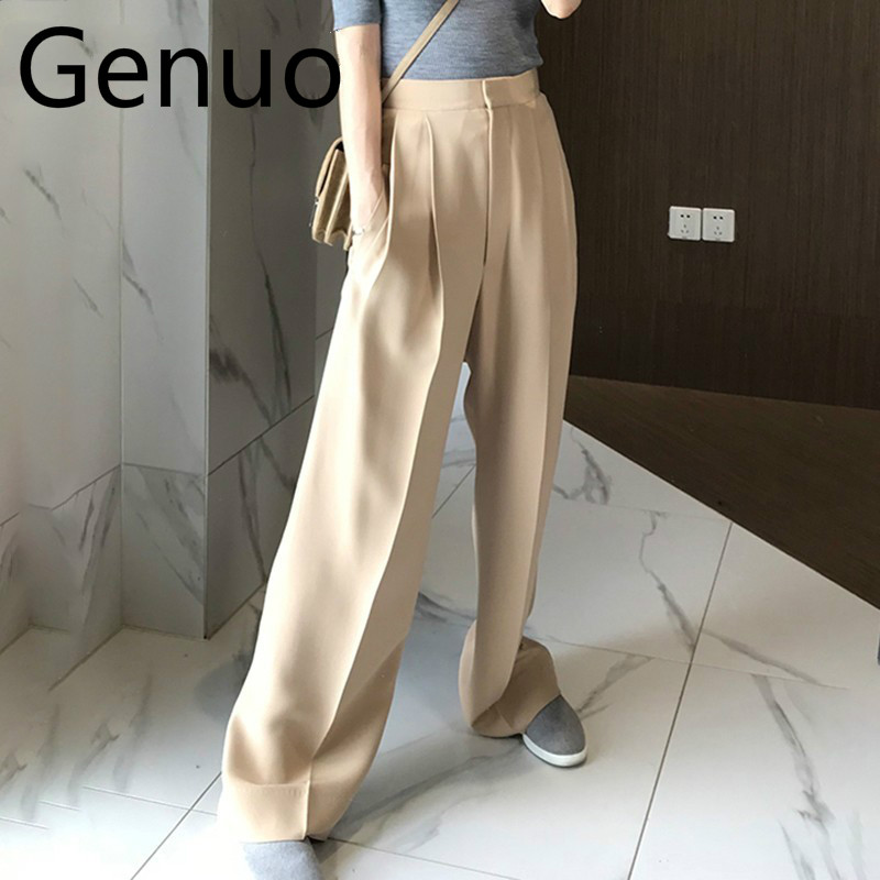 Trouser For Women High Waist Causal Loose   Wide     Leg     Pants   Female 2018 Autumn Korean Fashion Elegant Tide