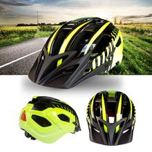 Mounchain Bicycle Safety Cycling Helmet with Flash Light Integrated yellow and black 54-63 cm