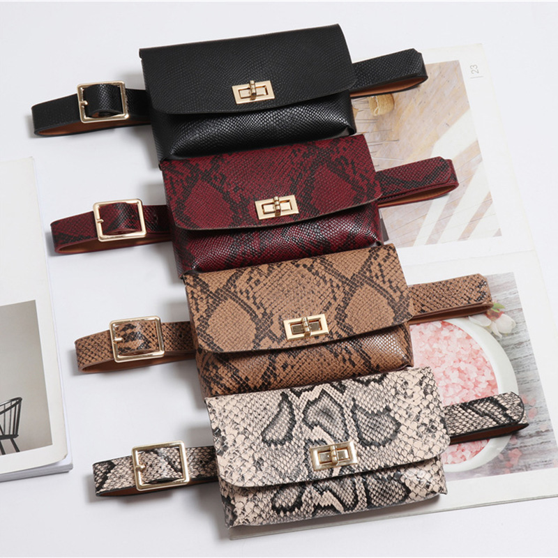 Fanny Pack Fashion Serpentine Waist Bag Women PU Leather Waist Pack Vintage Belt Bags Phone Pocket Small Women's Cross Body Bag