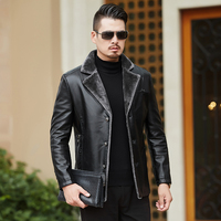 New Casual Boutique Winter Men's Genuine Leather Jackets Brand Brown Sheepskin Jacket And Coats With Fur Wool Collar Warm