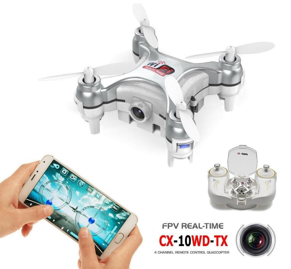 Cheerson CX-10WD-TX 2,4 GHz 4CH 6-eje Wifi FPV Quadcopter 3D eversión Mini Drone con 0.3MP Cámara RC juguetes regalos para los niños Mejor Precio 16MP 4K HD Cámara WiFi FPV RC Drone plegable flujo óptico quadcóptero que mantiene altitud 6-axis gyro rc dron helicóptero