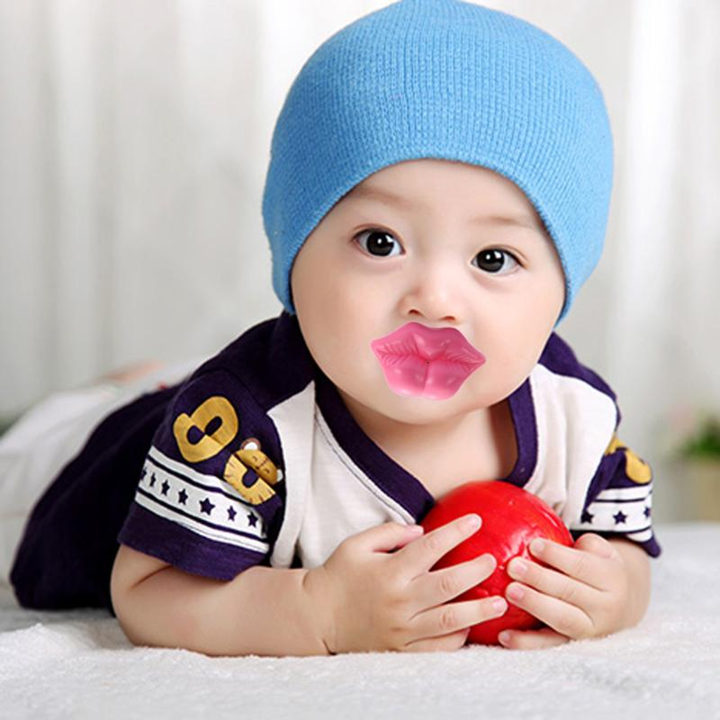 Food Grade Silicone Funny Baby Pacifier Sexy Kiss Pink Rose Red Lip Shape Infant Teeth Soothers Funny Baby Pacifiers Gift защитный детский шлем