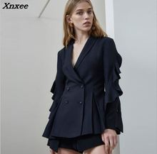 Women's blazer formal double button solid ruffles long sleeves female jacket coat women suit blazer feminino office blazers