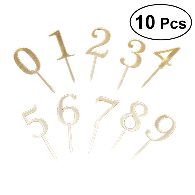 10 Pcs Cake Toppers Numbers 0 9 Acrylic Gold Chic Handmade Dessert Topper Cupcake Decoration Picks For Birthday Party