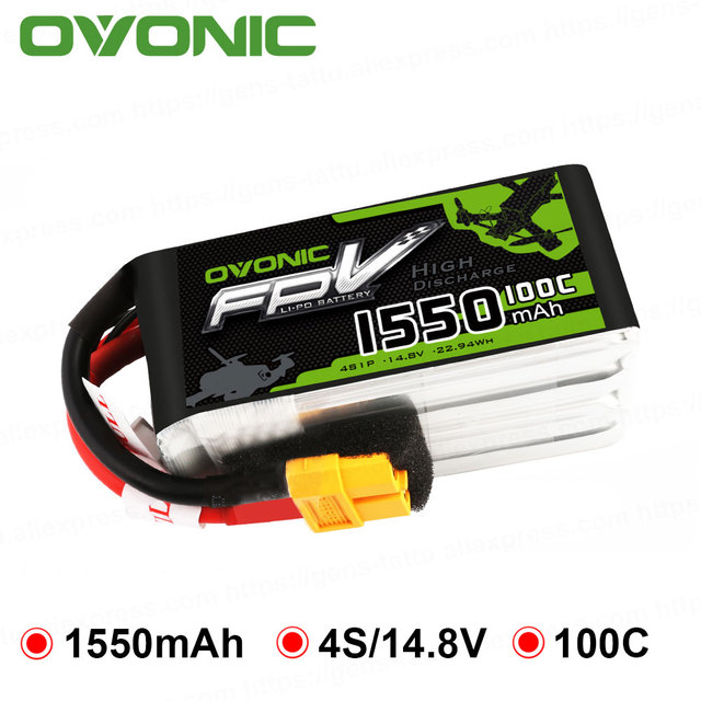 OVONIC 1550mAh 4S 100C Max 200C 14.8V Lipo Battery XT60 Plug FPV Racing Drone Quadcopter Drone Racer