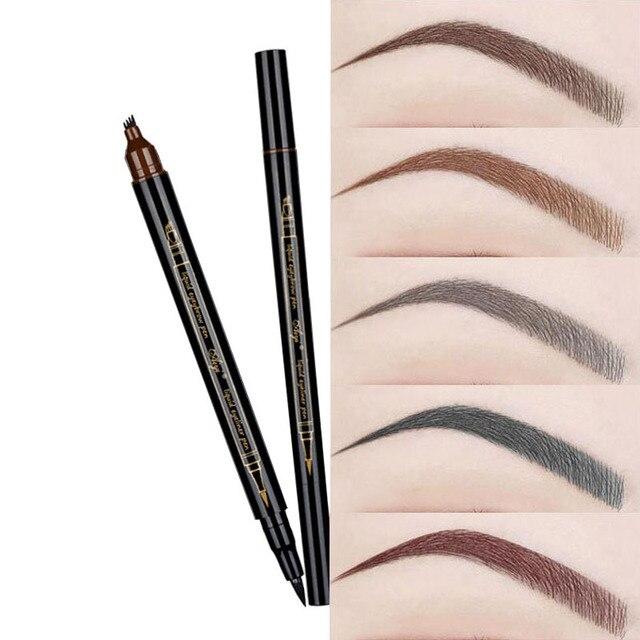 De cejas naturales pluma de cuatro garra de cejas tinte maquillaje 5 colores lápiz de cejas marrón negro gris rojo castaño cepillo cosméticos