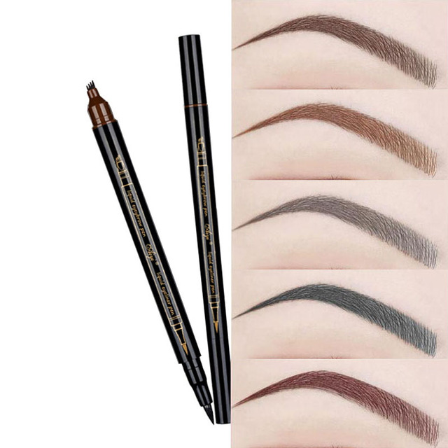 Natural Eyebrow Pen Four-claw Eye Brow Tint Makeup 5 Colors Eyebrow Pencil Brown Black Grey Red Chestnut Brush Cosmetics