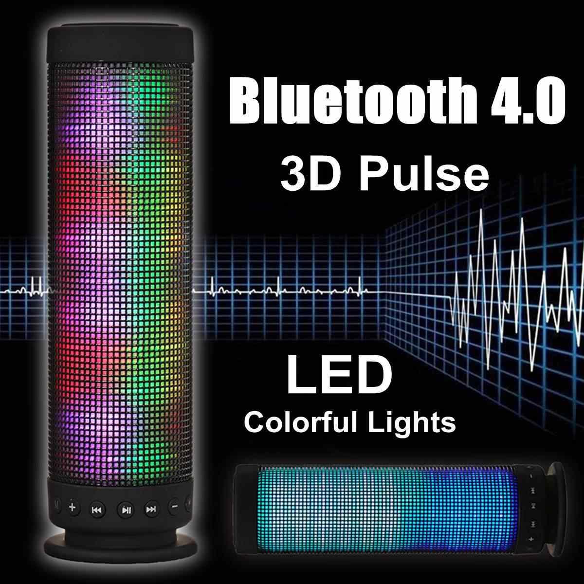 ポータブル 3D パルス 4.0 ワイヤレス bluetooth スピーカー Led ライトカラフルな音楽 TF カード NFC 3.5 ミリメートル Aux ハンズフリーステレオ金属スピーカー