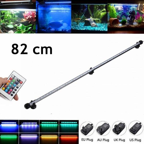 82CM LED Aquarium Fish Tank Light Bar Lamp IP68 Submersible RGB Remote 5050 SMD 110-240V EU/US/UK/AU Plug