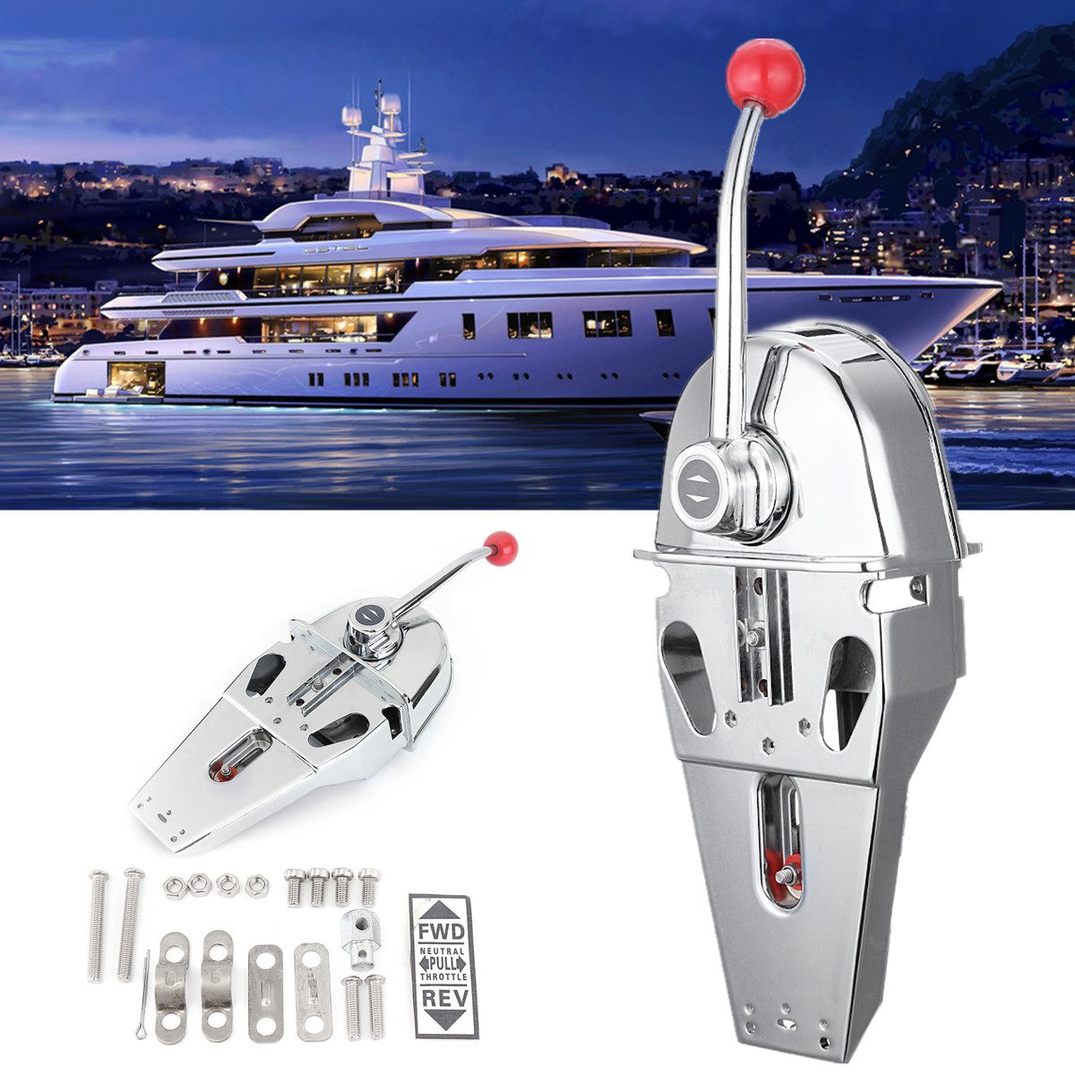 Handle Engine Control Box Top Mount 316 Stainless Steel Marine Boat Single Lever Dual Action Built-in Friction 45.5x15x12cmHandle Engine Control Box Top Mount 316 Stainless Steel Marine Boat Single Lever Dual Action Built-in Friction 45.5x15x12cm
