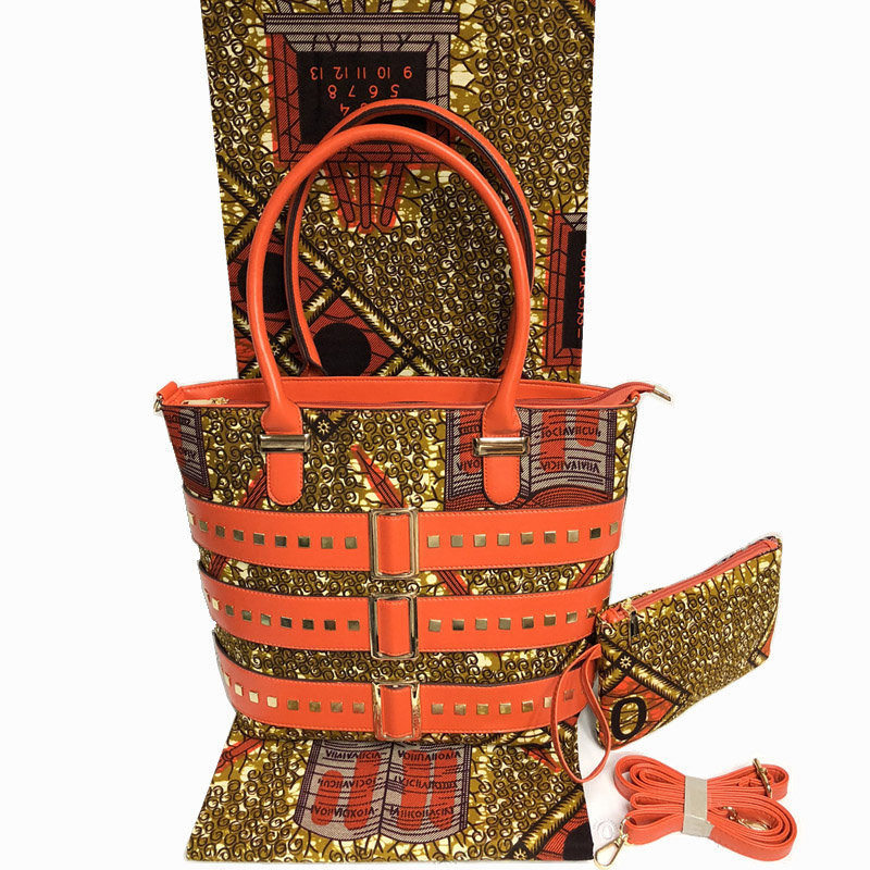 Best Selling Nigeria Style Wax Handmade Bag And Fabric Set For Party Fashion African Woman Bag