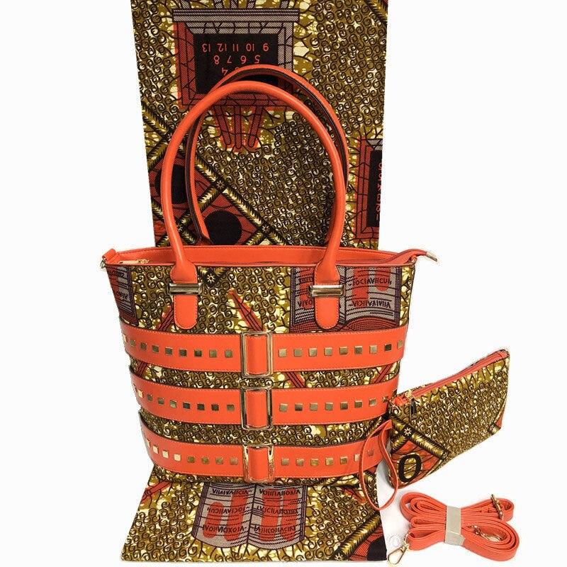 Meilleure vente nigéria Style cire sac à la main et ensemble de tissu pour la mode de fête femme africaine sac et imprime ensemble de tissu de cire