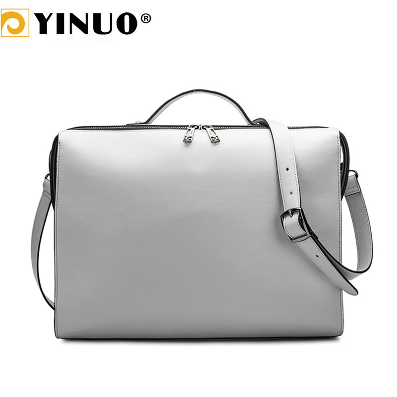 Yinuo Pu Leather Handbag Women Briefcase 14inch Laptop Bag Waterproof Detachable Shoudler Sling Bag Summer Bag