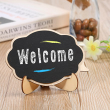 1pc/10pcs 3D DIY Mini Wooden Thicker Black Chalkboards Small Message Board Signs for Weddings Party Decoration with Easel Stand(China)