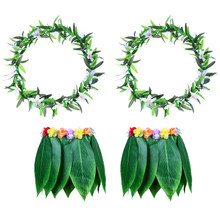 4PCS Tropical Beach Clothes Hawaii Costume Grass Skirt Leaves Skirt Dance Skirt with Garland for Luau Party Festival Traval(China)