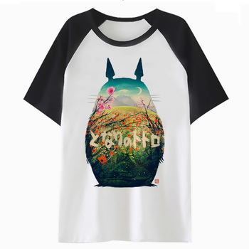 Two-tone Totoro short-sleeved T-shirt