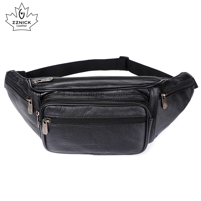 Genuine Leather Waist Bag Men Waist Pack Waist Bag Funny Pack Belt Bag  Men Chain Waist Bag For Phone Pouch  Bolso ZZNICK(China)