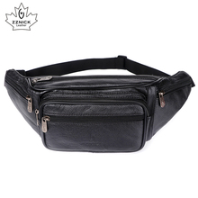 Genuine Leather Waist Bag men Pack Funny Belt  Men Chain For Phone Pouch Bolso ZZNICK