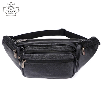 Genuine Leather Waist Bag Men Waist Pack Waist Bag Funny Pack Belt Bag  Men Chain Waist Bag For Phone Pouch  Bolso ZZNICK