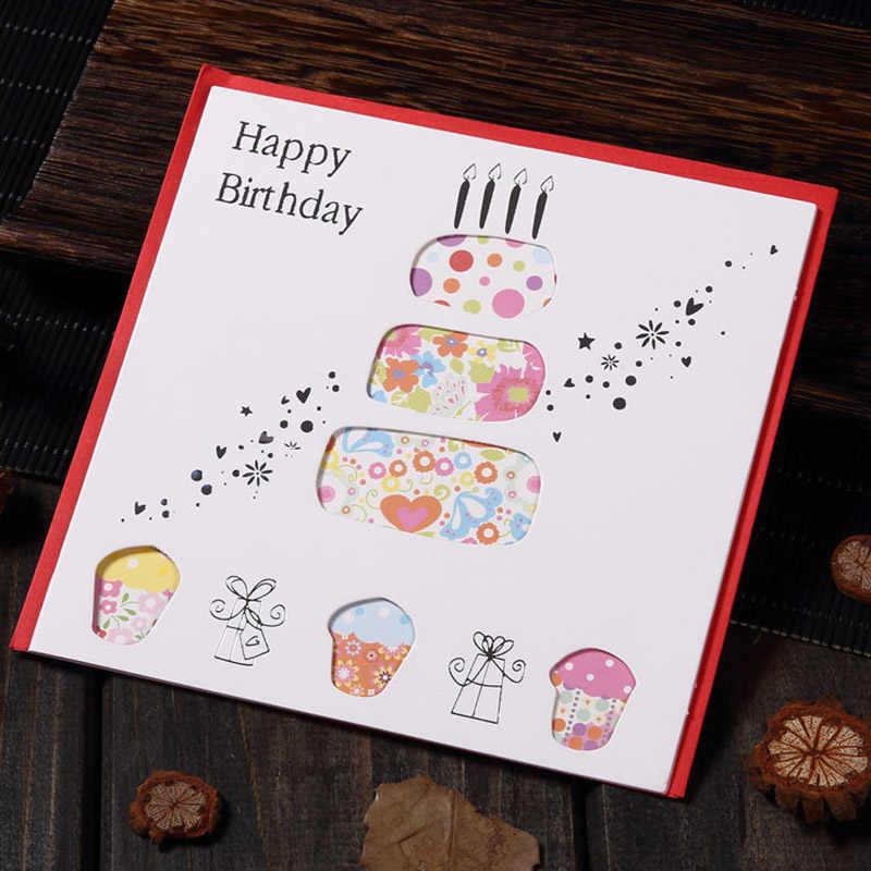 متعدد الألوان الطباعة الجوف الزهور النباتية بطاقات المعايدة لحفلة عيد ميلاد سعيد نعمة رسالة بطاقات بريدية كرت هدية EH009