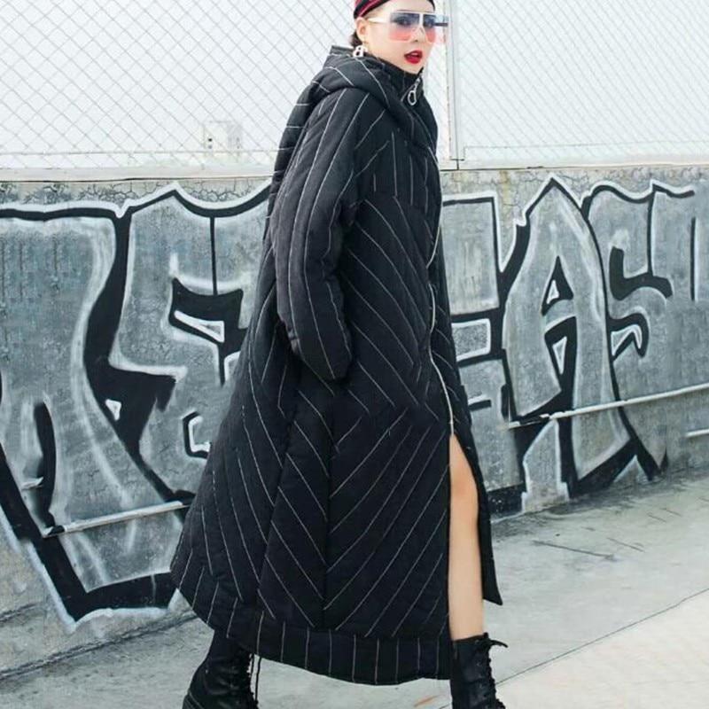 CHICEVER Gestreepte vrouwen Winter Jassen Hooded Lange Mouwen Rits Asymmetrische Zoom Jas Vrouwelijke Jas Mode Streetwear Tij 2019-in Parka's van Dames Kleding op  Groep 3