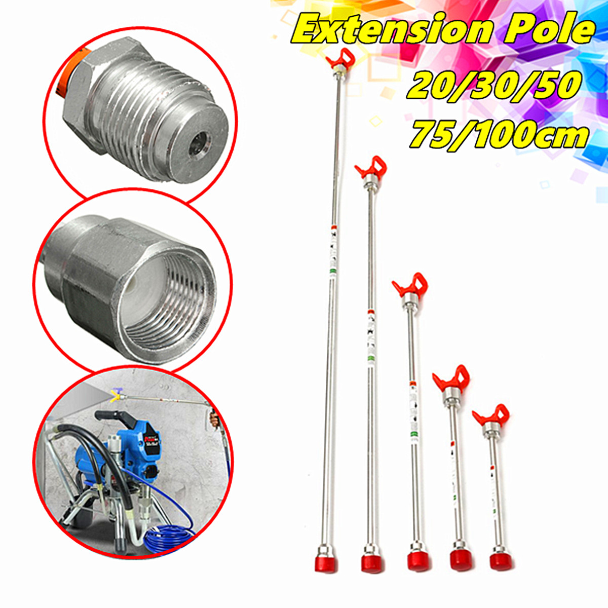 Universal 20 inch Airless Paint Sprayer Extension Pole With Nozzle Guard NEW