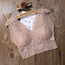 ce605dd8ceae2 Women Floral Camis Sexy Lace Bralette Bustier Crop Top Sheer Mesh Triangle  padded Bra 2019(