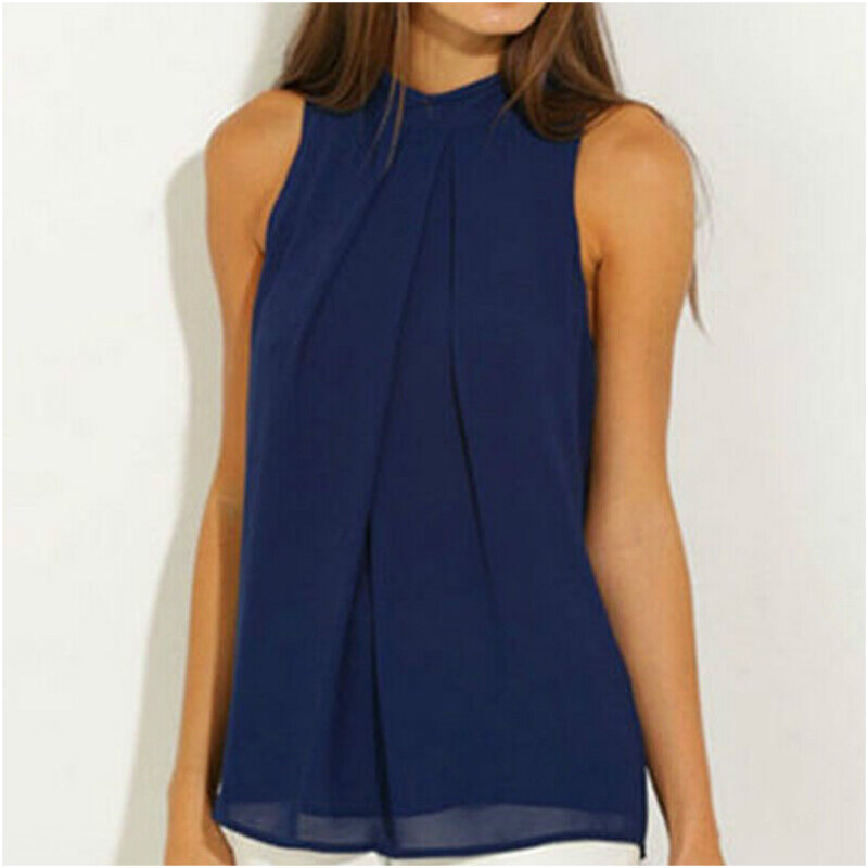 Fashion Sleeveless Loose Blue   Blouse   Casual   Shirt   Summer Chiffon Tops