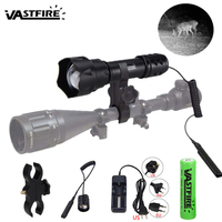 7W IR 850nm 1Mode LED Night Vision Flashlight T20 Tactical Infrared Light Adjustable Zoomable 38mm Convex Lens Torch Spot light