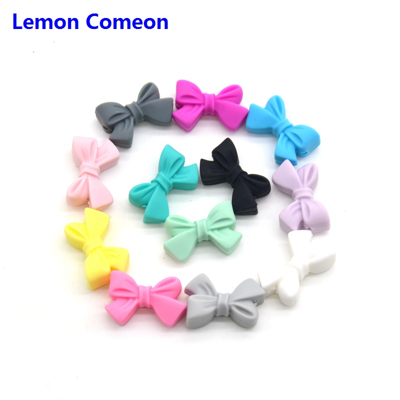 Lemon Comeon 5PCS Cute Bow Silicon Beads Teether DIY To Make Silicone Teething Baby Chew Necklace BPA Free Teethers