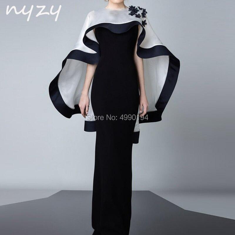 2 pièces velours mère de la mariée robes de marié avec boléro veste sirène blanc noir soirée formelle robe 2019 NYZY M102